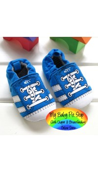 Next Boyz Blue Soft Shoes with Mock Laces (6M, 12M)