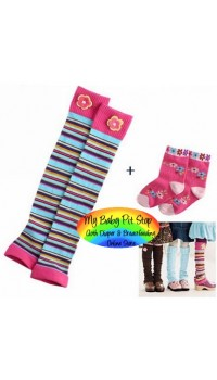 Leg and Arm Warmer - Korean Legging with Socks - Pink Strip