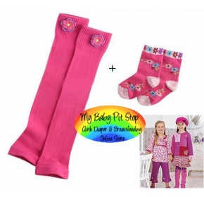 Leg and Arm Warmer - Korean Legging with Socks - Pink
