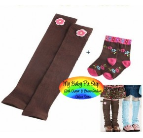 Leg and Arm Warmer - Korean Legging with Socks - Brown
