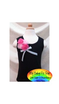 Cute Kids Black Tank Top w/RosePink Bouquet Rosette (1Y, 3Y, 5Y)