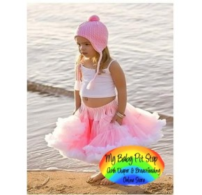 Petit Skirt w/detachable Lt Pink Bow - Pink/White (2Y)