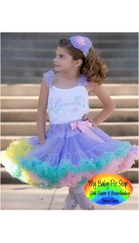 Petit Skirt w/detachable Lt Pink Bow - Rainbow Color (2Y, 4Y)