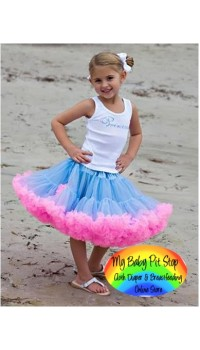 Petit Skirt w/detachable Lt Pink Bow - Lt Blue/Pink (3Y)